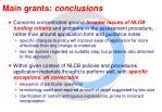 main grants conclusions