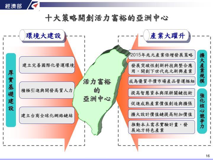 十大策略開創活力富裕的亞洲中心