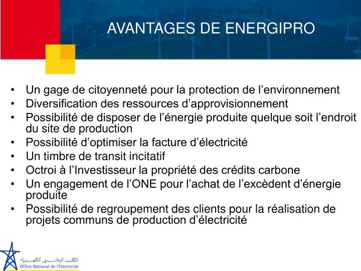 AVANTAGES DE ENERGIPRO