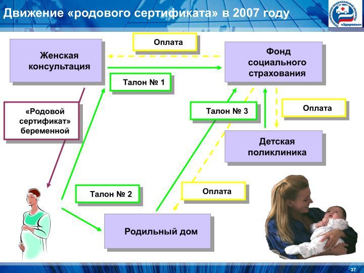 Движение «родового сертификата» в 2007 году