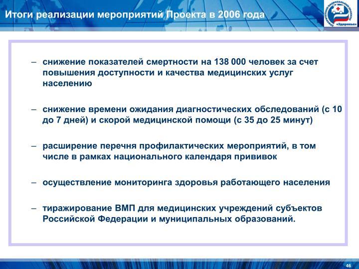 Итоги реализации мероприятий Проекта в 2006 года