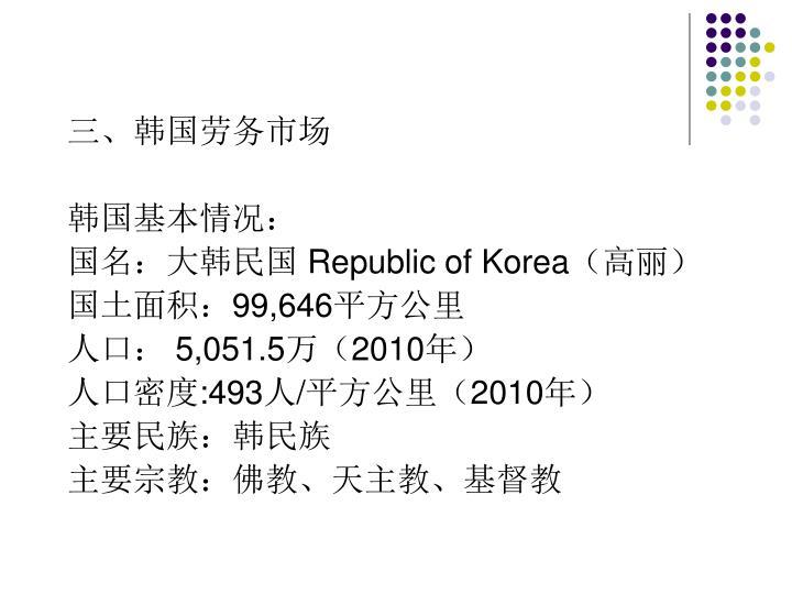 三、韩国劳务市场