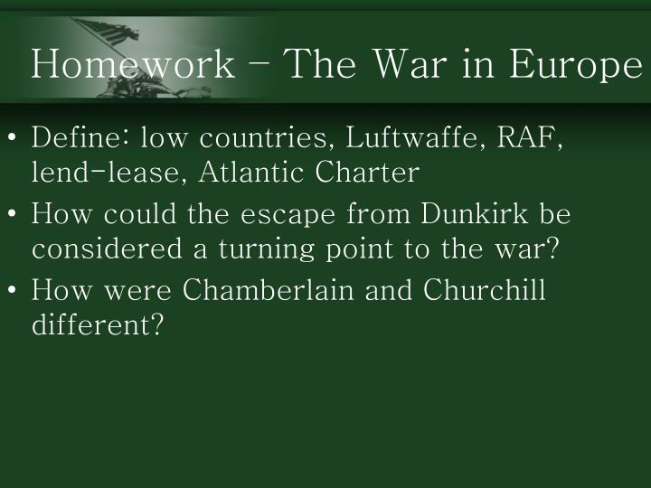 Homework – The War in Europe