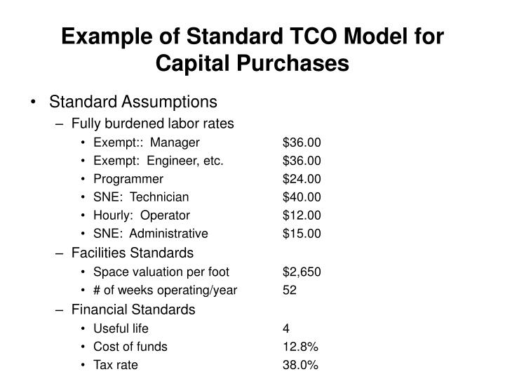 Example of Standard TCO Model for Capital Purchases