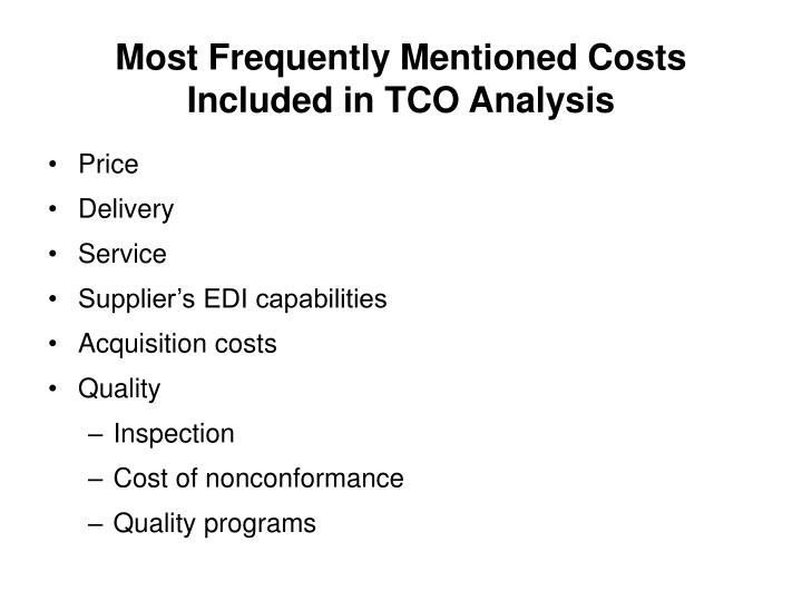 Most Frequently Mentioned Costs Included in TCO Analysis
