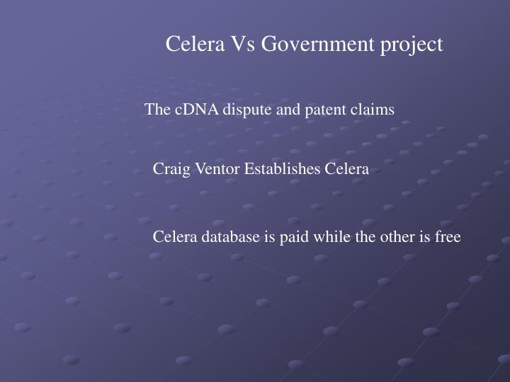 Celera Vs Government project