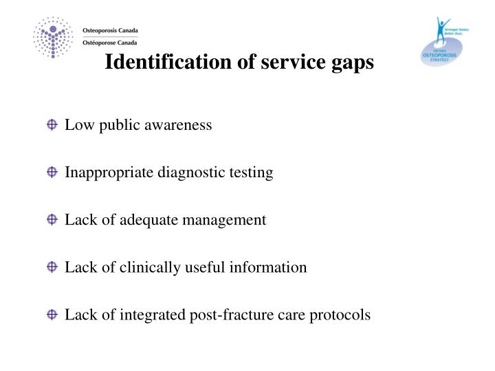 Identification of service gaps