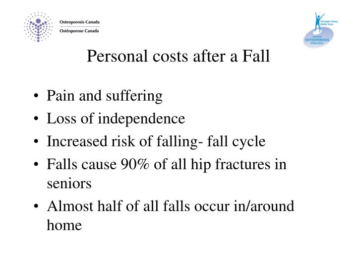 Personal costs after a Fall