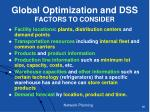 global optimization and dss factors to consider