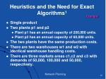 heuristics and the need for exact algorithms 1
