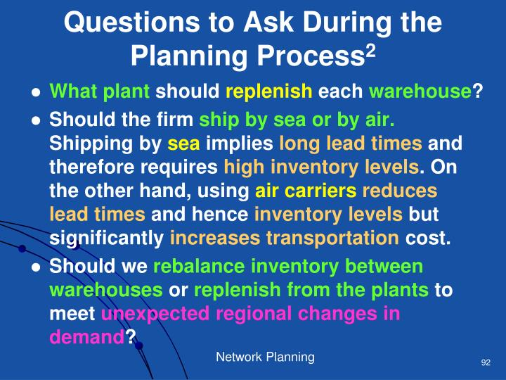Questions to Ask During the Planning Process