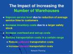 the impact of increasing the number of warehouses