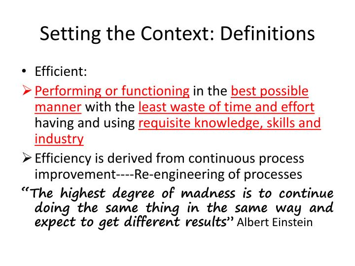 Setting the context definitions