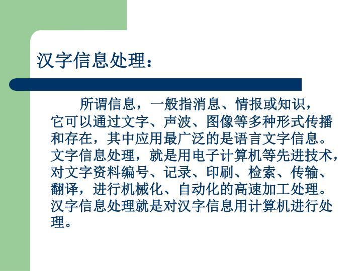 汉字信息处理: