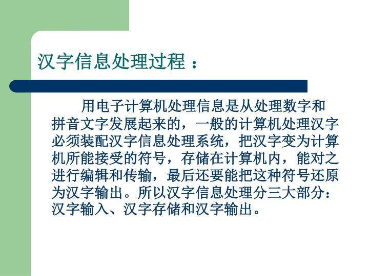 汉字信息处理过程 :