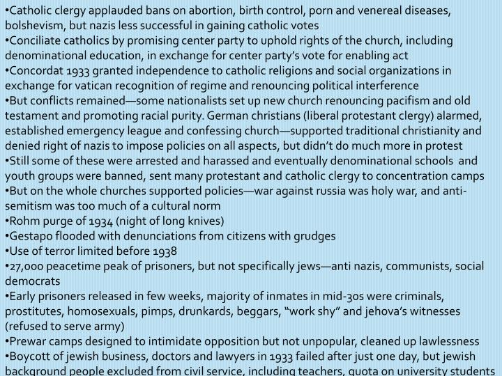 Catholic clergy applauded bans on abortion, birth control, porn and venereal diseases, bolshevism, but