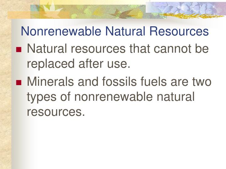 Nonrenewable Natural Resources