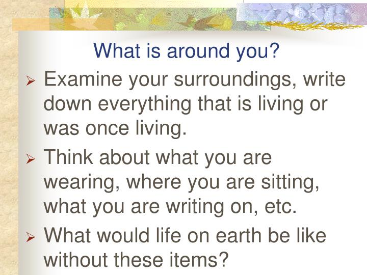 What is around you?