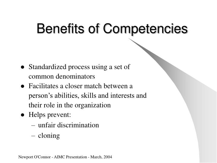 Benefits of Competencies