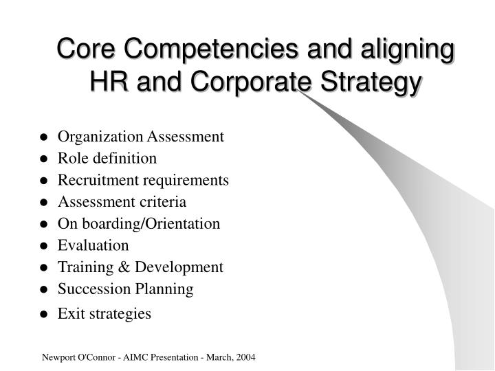 Core Competencies and aligning HR and Corporate Strategy