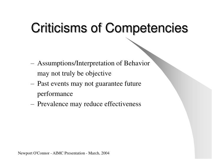 Criticisms of Competencies