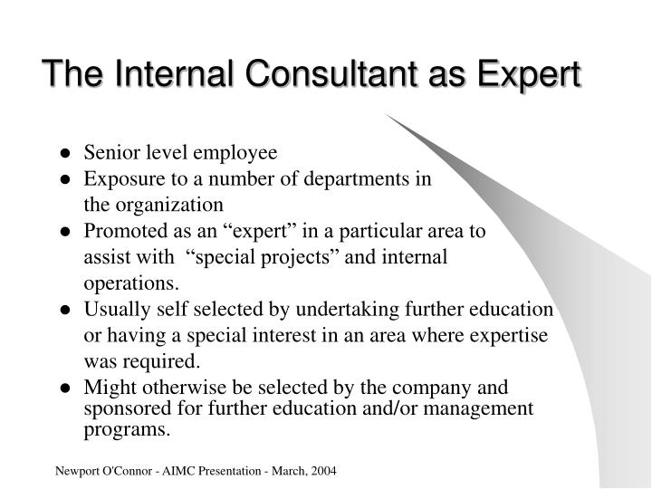 The Internal Consultant as Expert