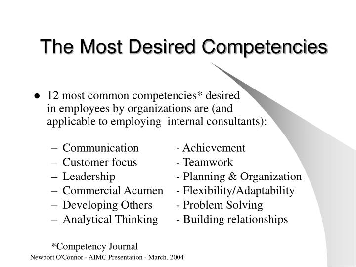 The Most Desired Competencies