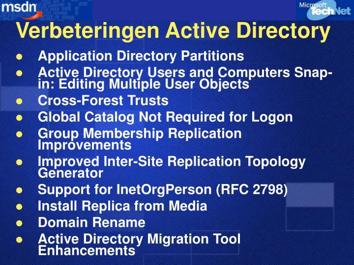 Verbeteringen Active Directory