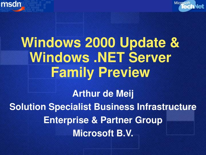 Windows 2000 update windows net server family preview