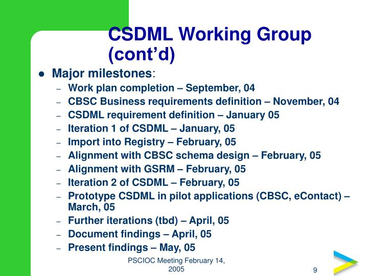 CSDML Working Group (cont'd)