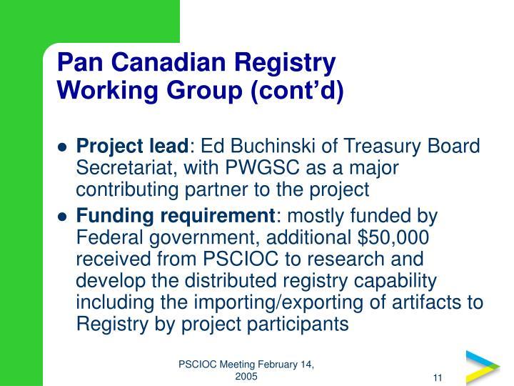 Pan Canadian Registry
