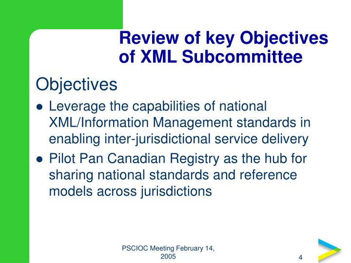 Review of key Objectives of XML Subcommittee