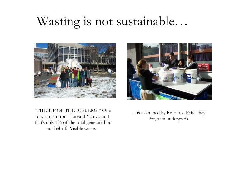 Wasting is not sustainable…