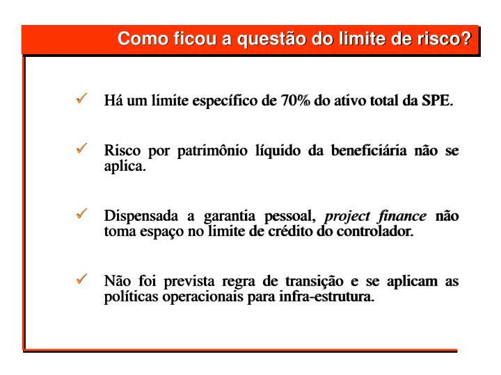 Há um limite específico de 70% do ativo total da SPE.