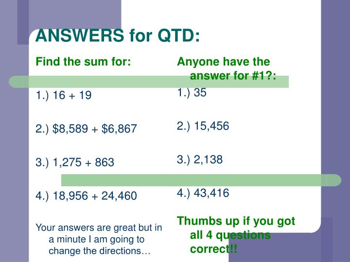 Answers for qtd