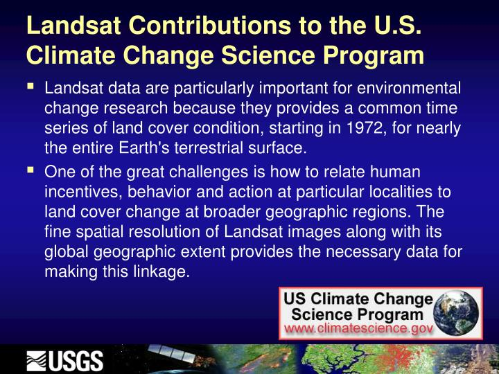 Landsat Contributions to the U.S. Climate Change Science Program