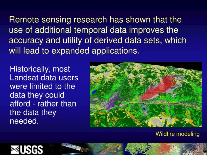 Remote sensing research has shown that the use of additional temporal data improves the accuracy and utility of derived data sets, which will lead to expanded applications.