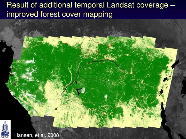 Result of additional temporal Landsat coverage – improved forest cover mapping