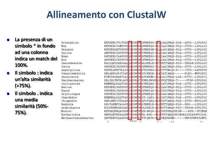 Allineamento con ClustalW