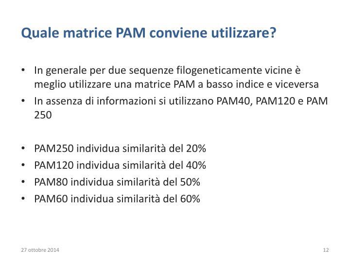 Quale matrice PAM conviene utilizzare?