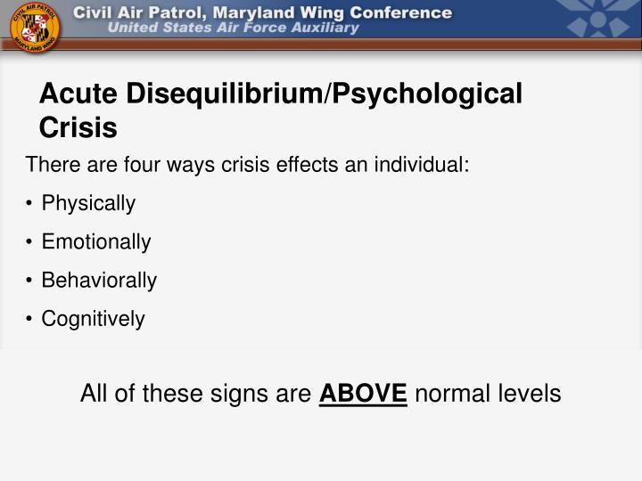 Acute Disequilibrium/Psychological Crisis