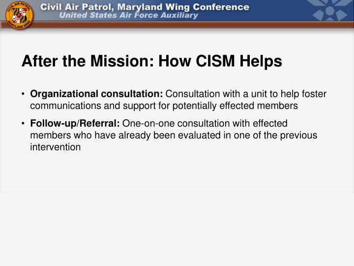After the Mission: How CISM Helps