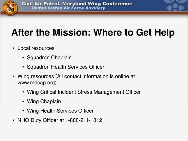 After the Mission: Where to Get Help