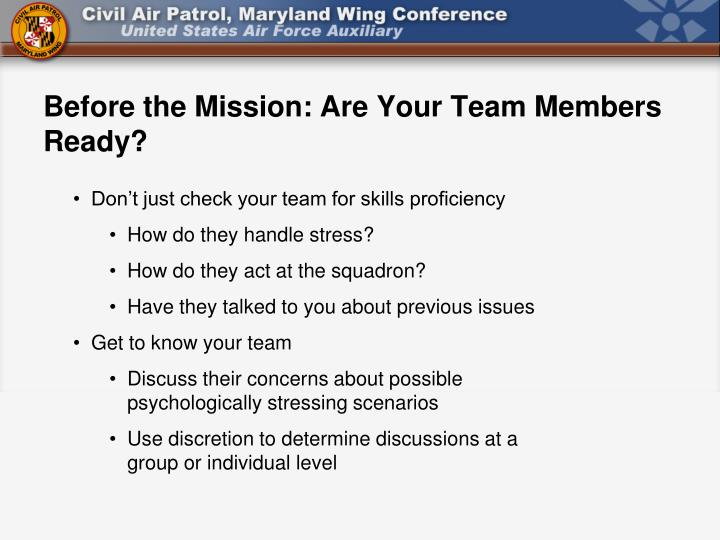 Before the Mission: Are Your Team Members Ready?
