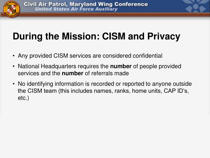 During the Mission: CISM and Privacy