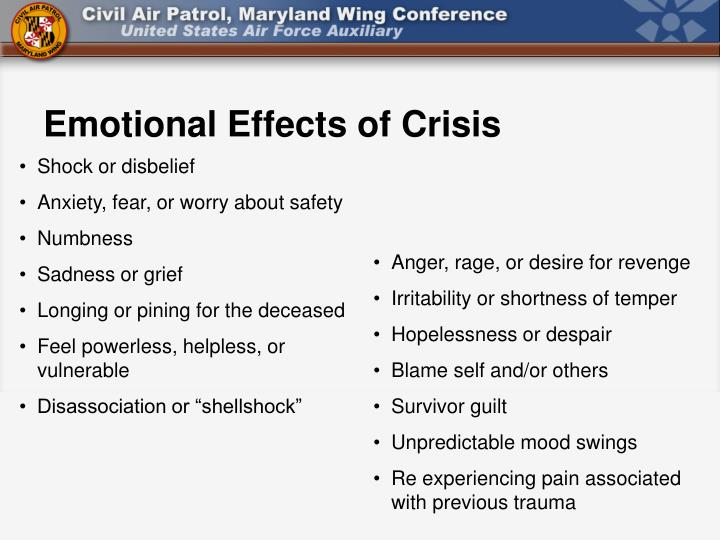Emotional Effects of Crisis