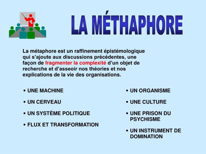 La métaphore est un raffinement épistémologique