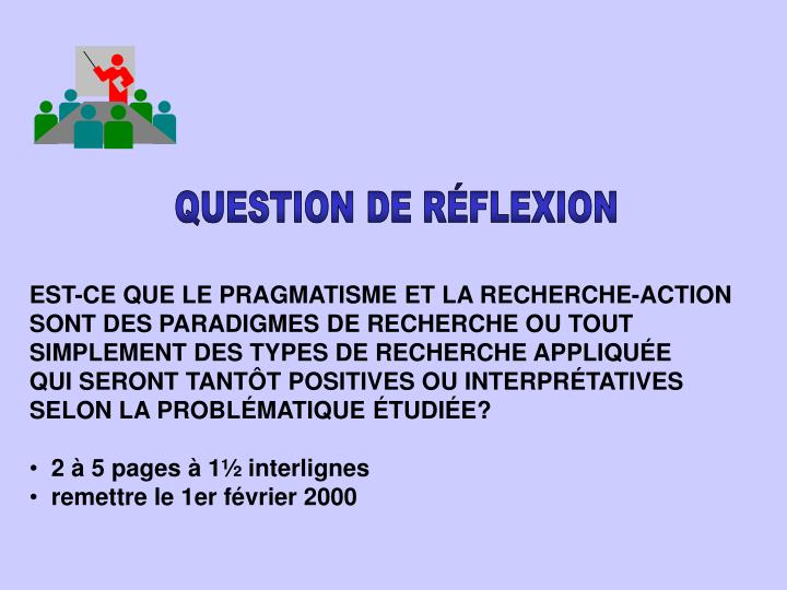 QUESTION DE RÉFLEXION