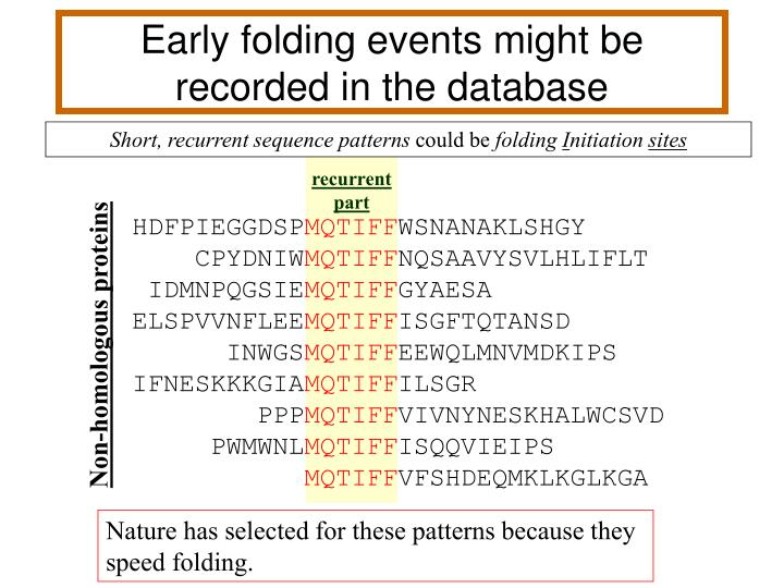 Early folding events might be recorded in the database
