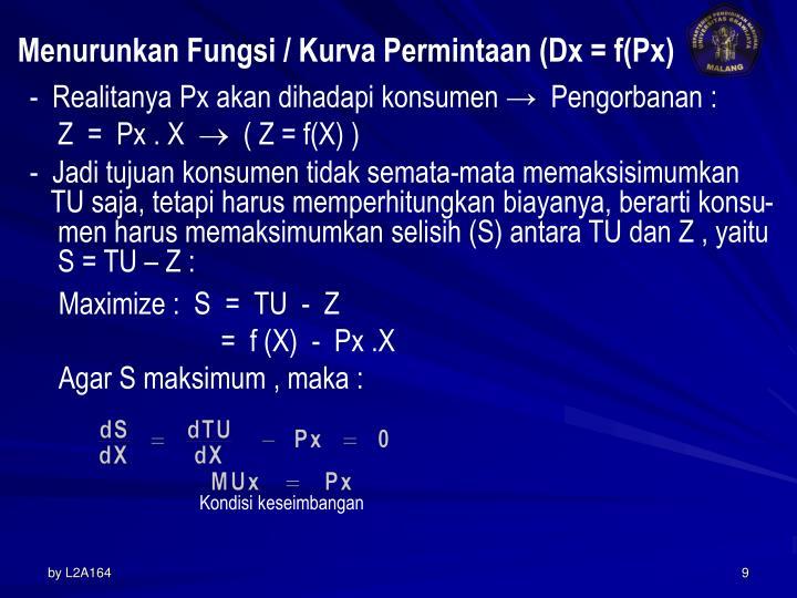 Menurunkan Fungsi / Kurva Permintaan (Dx = f(Px)